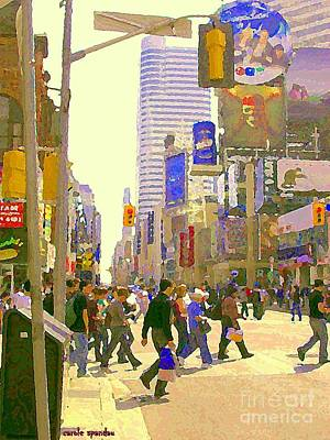 Busy Downtown Street Scene Crosswalk At Eatons Center Toronto Paintings Urban Canadian Art C Spandau Poster by Carole Spandau