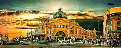Busy Flinders St Station Poster by Az Jackson