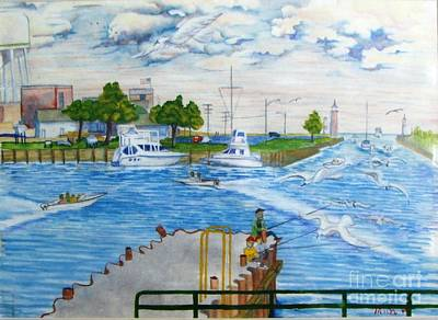 Busy Kenosha Wisconsin Harbor  Poster
