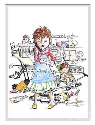 Busy Mom2 Poster by Gertrudes  Asplund