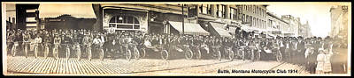 Butte Motorcycle Club 1914 Sepia Tone Poster