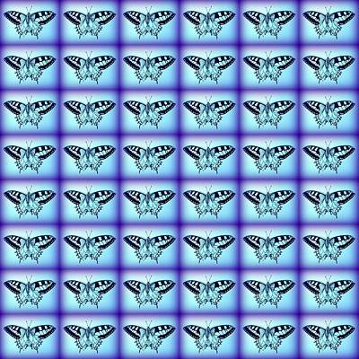 Butterflies In Blue Poster by Cathy Jacobs