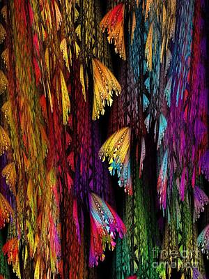 Butterflies On The Curtain Poster by Klara Acel