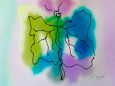 Poster featuring the digital art Butterfly Abstract 1 by Frank Bright