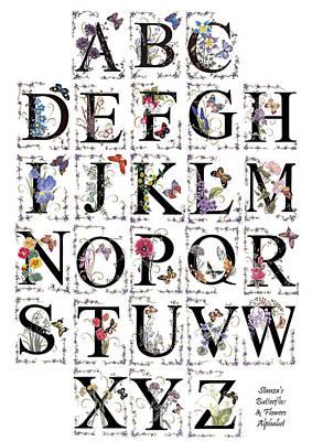 Butterfly Flower Alphabet Poster by Stanza Widen