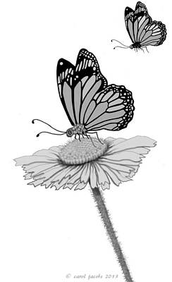 Poster featuring the digital art Butterfly Friends by Carol Jacobs