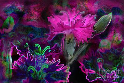 Poster featuring the digital art Butterfly Garden 08 - Carnations by E B Schmidt