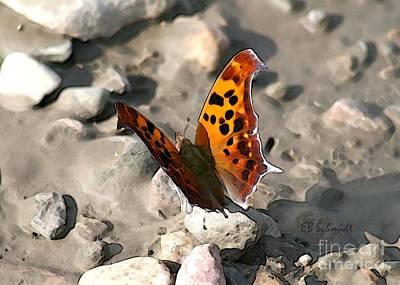 Poster featuring the digital art Butterfly Garden 09 - Eastern Comma by E B Schmidt
