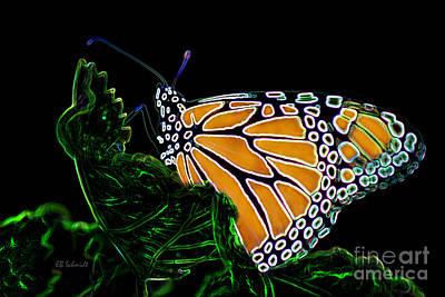 Poster featuring the digital art Butterfly Garden 12 - Monarch by E B Schmidt