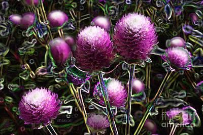 Poster featuring the digital art Butterfly Garden 20 - Globe Amaranth by E B Schmidt