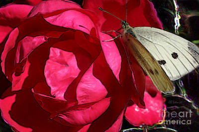 Poster featuring the digital art Butterfly Garden 21 - Cabbage White by E B Schmidt