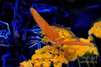 Poster featuring the digital art Butterfly Garden 22 - Julia Heliconian by E B Schmidt