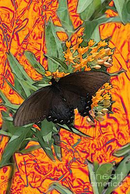 Poster featuring the digital art Butterfly Garden 25 - Spicebush Swallowtail by E B Schmidt