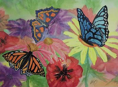 Poster featuring the painting Butterfly Garden by Ellen Levinson
