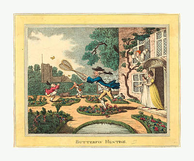 Butterfly Hunting, 1806, Hand-colored Etching Poster by Rowlandson, Thomas (1756-1827), English