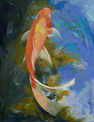 Butterfly Koi Painting Poster by Michael Creese