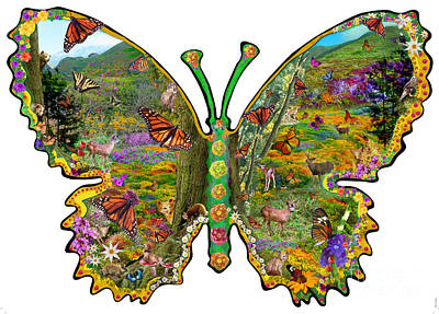 Butterfly Meadow Green Poster by Alixandra Mullins