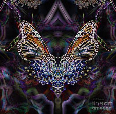 Poster featuring the digital art Butterfly Reflections 01 - Monarch by E B Schmidt