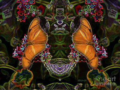 Poster featuring the digital art Butterfly Reflections 04 - Julia Heliconian by E B Schmidt