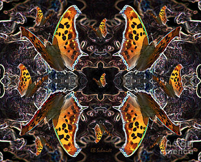 Poster featuring the digital art Butterfly Reflections 05 - Eastern Comma by E B Schmidt
