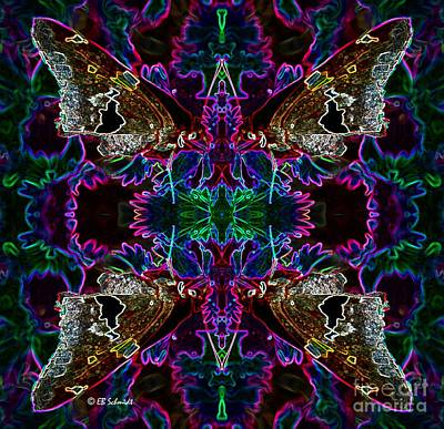 Poster featuring the digital art Butterfly Reflections 09 - Silver Spotted Skipper Reflections by E B Schmidt