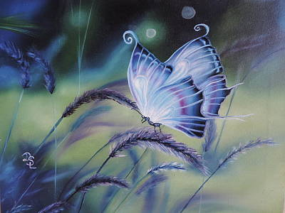 Poster featuring the painting Butterfly Series #3 by Dianna Lewis