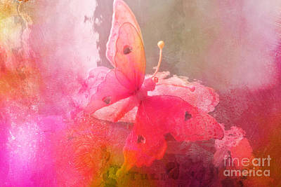 Butterfly Surreal Fantasy Painterly Impressionistic Pink Abstract Butterfly Fine Art  Poster by Kathy Fornal