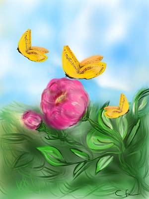Poster featuring the digital art Butterfly Triplets by Christine Fournier