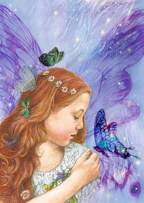 Poster featuring the painting Butterfly Twinkling Fairy by Judith Cheng