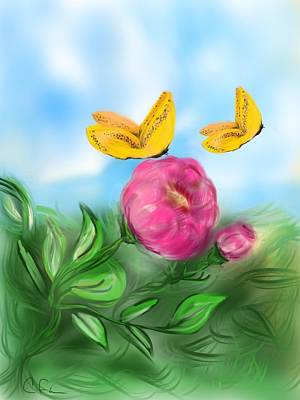 Poster featuring the digital art Butterfly Twins by Christine Fournier