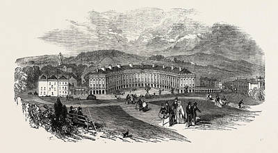 Buxton, The Crescent, New Baths Poster by English School
