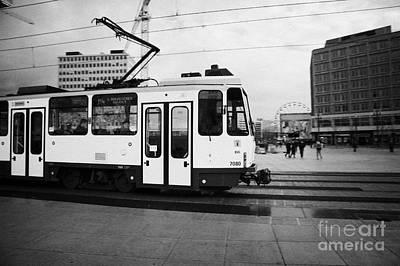 Bvg Berlin Yellow Tram Travelling Though Alexanderplatz Berlin Germany Poster by Joe Fox