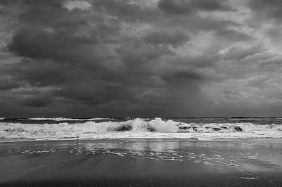 Bw Stormy Seascape Poster