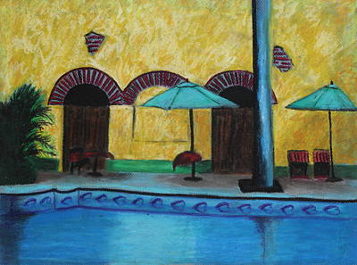 Poster featuring the painting By The Poolside by Jeanne Fischer