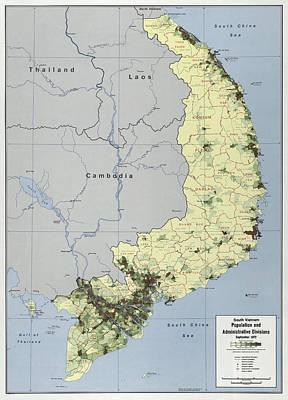 C I A Vietnam Map 1972 Poster by Daniel Hagerman