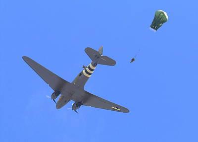 C47 Paratrooper Drop At Salinas Airshow Poster