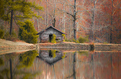 Cabin By The Lake In Autumn Poster by Shelby  Young