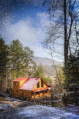 Cabin In The Snow Poster by Debra and Dave Vanderlaan