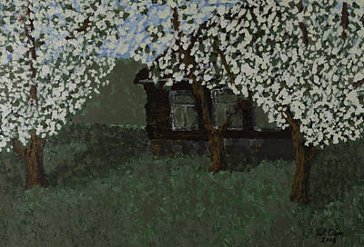 Cabin With Blossoms Woods Spring Poster
