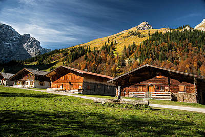 Cabins High In The Austrian Alps Fall Poster