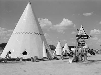 Cabins Imitating The Indian Teepee For Tourists Along Highway Poster by Historic Photos