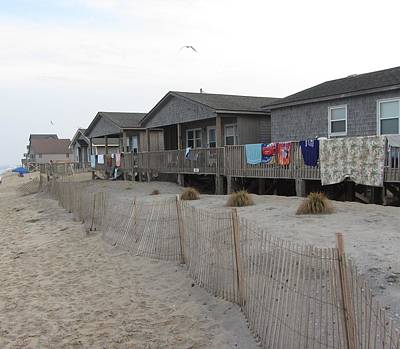 Poster featuring the photograph Cabins On Buxton Beach by Cathy Lindsey