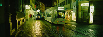 Cable Cars Moving On A Street Poster