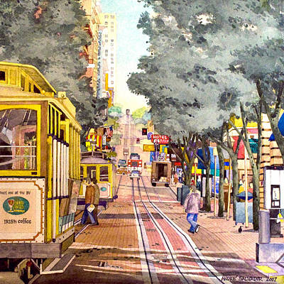 Cable Cars On Powell Street Poster