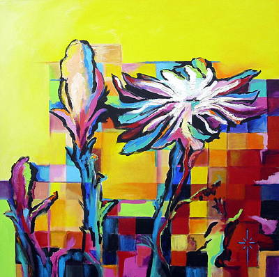 Poster featuring the painting Cactus Blossom by Jodie Marie Anne Richardson Traugott          aka jm-ART