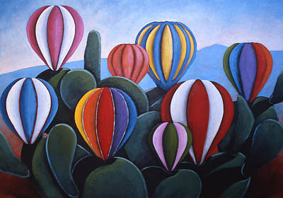 Cactus Fiesta Poster by Gayle Faucette Wisbon