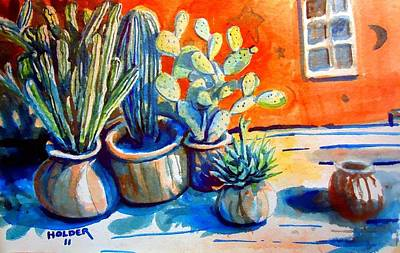 Cactus In Pots Poster by Steven Holder