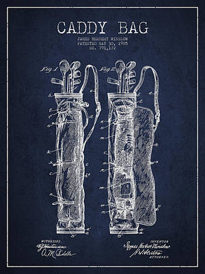 Caddy Bag Patent Drawing From 1905 Poster by Aged Pixel