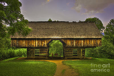 Cades Cove Cantilever Barn Great Smokey Mountains Poster by Reid Callaway