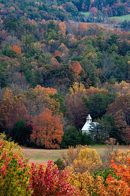 Poster featuring the photograph Cades Cove Methodist  Church by Tyson and Kathy Smith